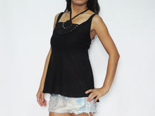Load image into Gallery viewer, Women Black Cotton Crochet Top Halter Neck Blouse