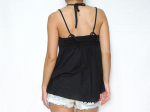 Women Black Cotton Crochet Top Halter Neck Blouse