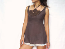 Load image into Gallery viewer, Women Brown Taupe Cotton Crochet Top Halter Neck Blouse