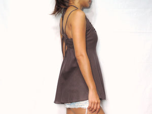 Women Brown Taupe Cotton Crochet Top Halter Neck Blouse