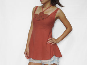 Women Cotton Crochet Top Halter Neck Blouse - Orange