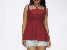 Load image into Gallery viewer, Halter Neck & Crochet Lace Tops - Red