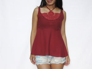 Halter Neck & Crochet Lace Tops - Red