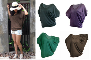 Brown Oversized Tops Women Tee with pocket