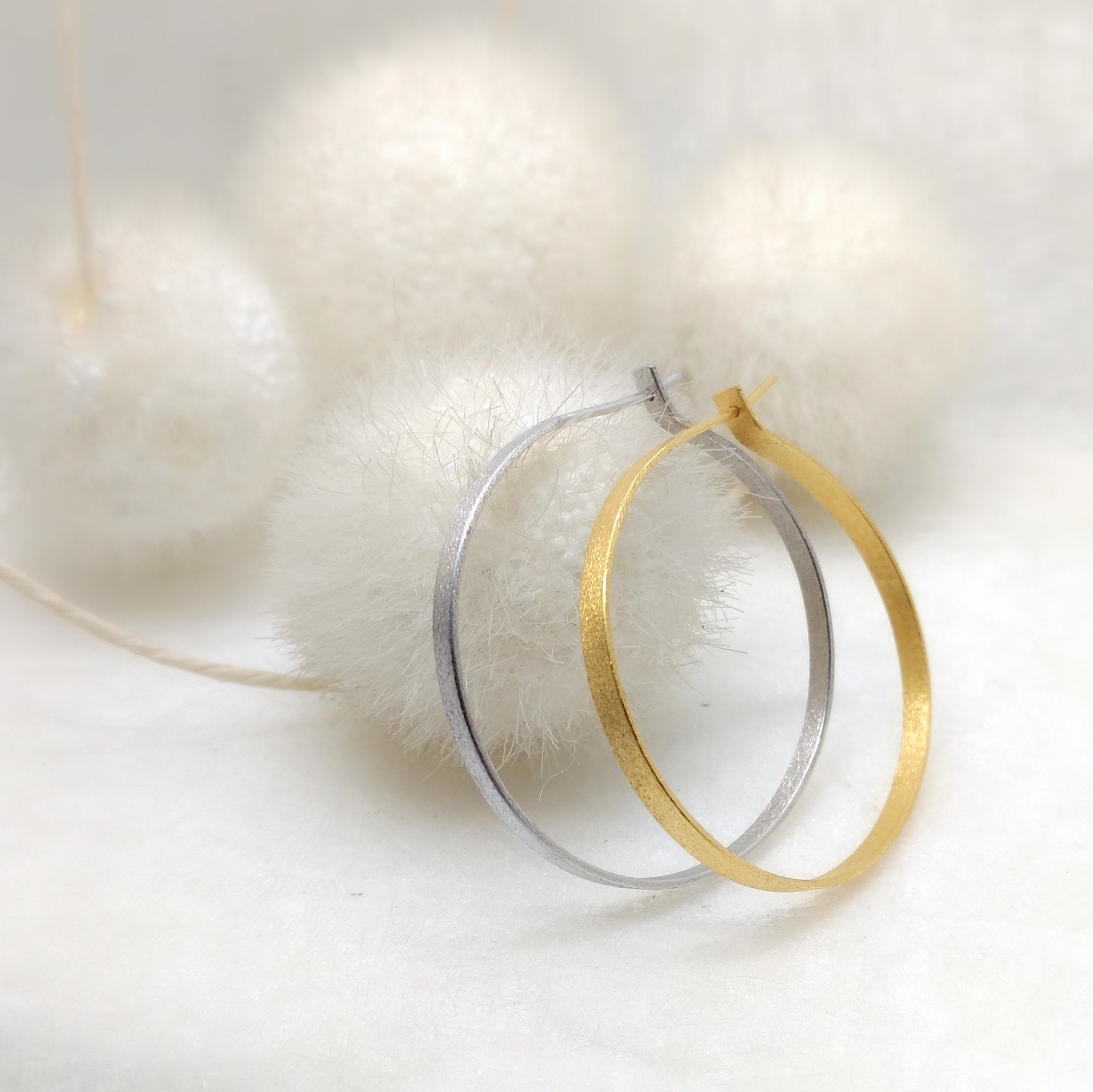 ImNos - big (ø 40mm) Sterling silver hoops in gold or rhodium plated