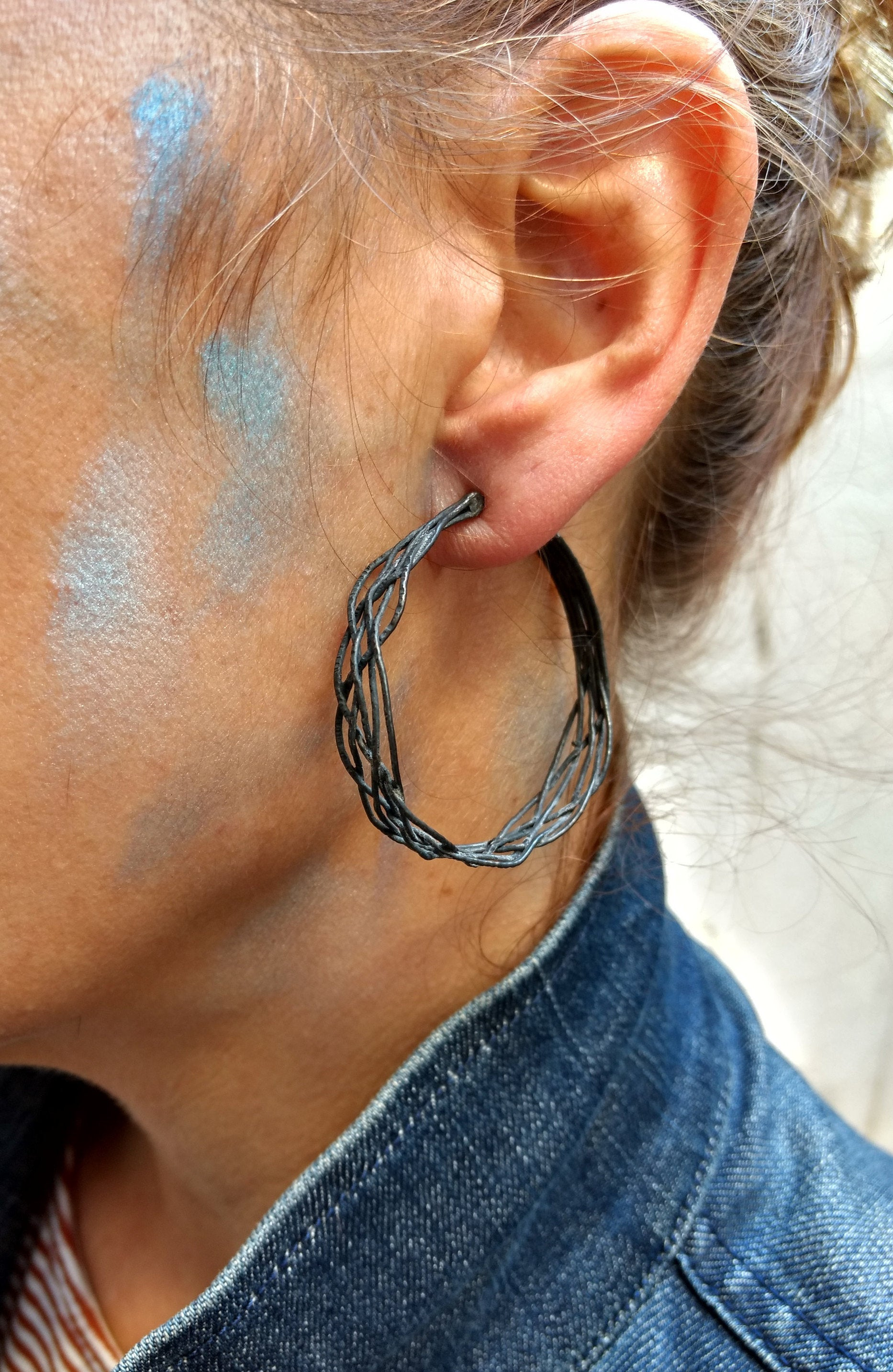 ZusZa - braided black Sterling Silver Hoops, hand made in 4 sizes