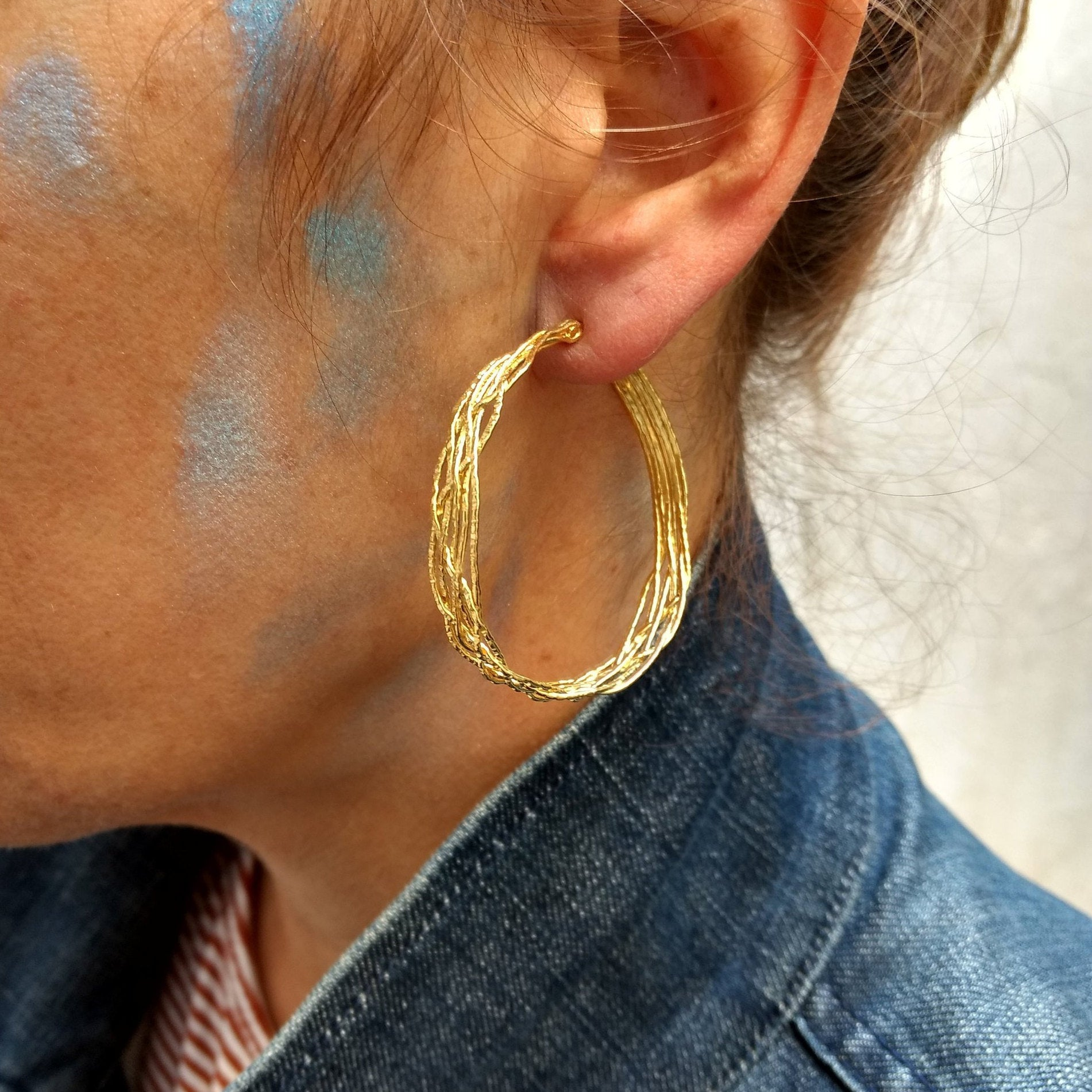 ZusZa - braided gold plated Sterling Silver hoops, in 4 sizes available