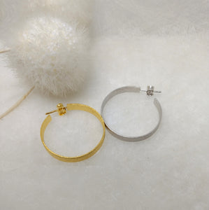 ImNos - big (ø 30 mm), broad Sterling Silver hoops, rhodium or gold plated