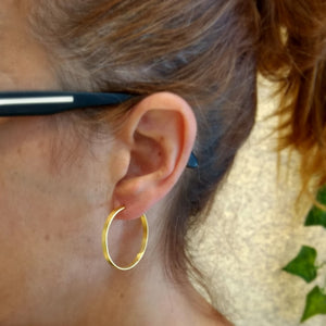 ImNos - small (ø 30mm) Sterling Silver hoops, rhodium or gold plated