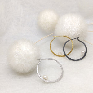 LaLune - small Sterling Silver hoops with pearl, available in 3 finishes