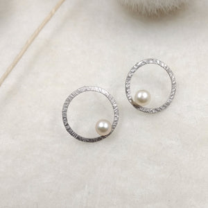 LaLune - small Silver buttons with pearls, available in 3 finishes