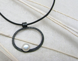 LaLune - small Sterling Silver pendant with white pearl, available in 3 finishes