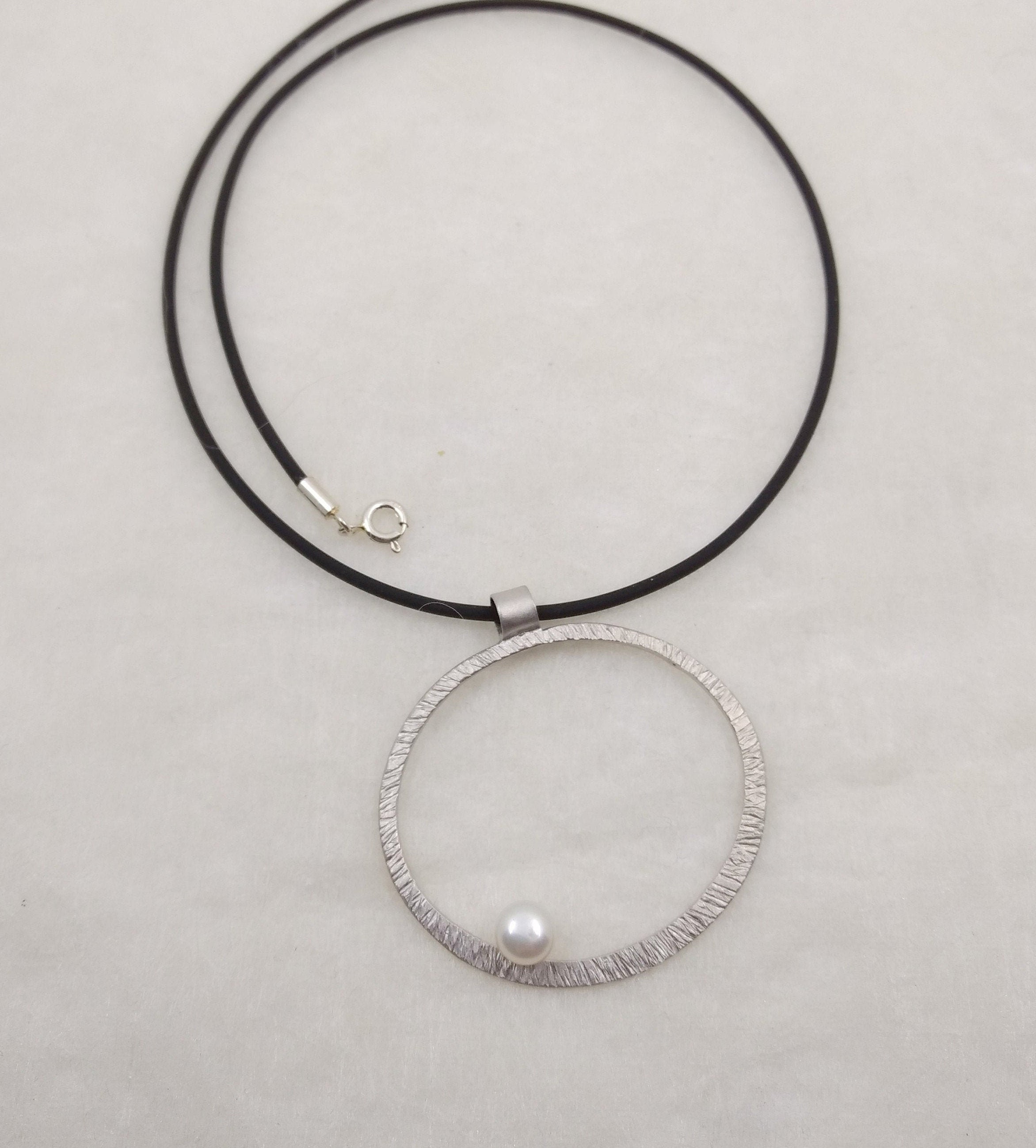 LaLune - medium Sterling Silver pendant with white pearl, available in 3 finishes