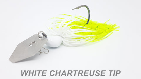 "#19 ""White Chartreuse Tip"" Bladed Jig"