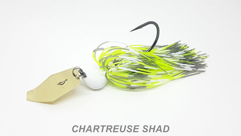 "#64 ""Chartreuse Shad"" Gold Bladed Jig"