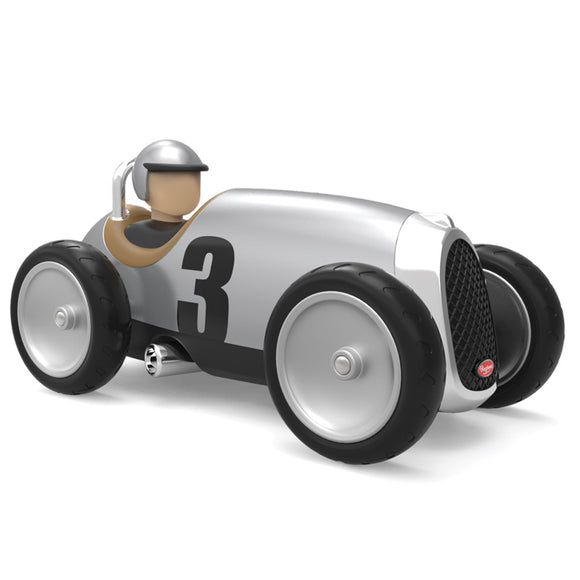 baghera racing car silver front side view with white background