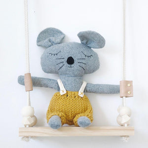 and the little dog laughed charlie mouse sitting on wooden swing