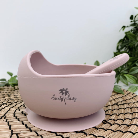 dainty daisy blush pink silicone bowl and spoon set