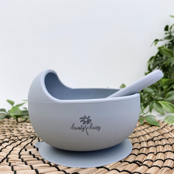 dainty daisy dark grey silicone bowl and spoon set