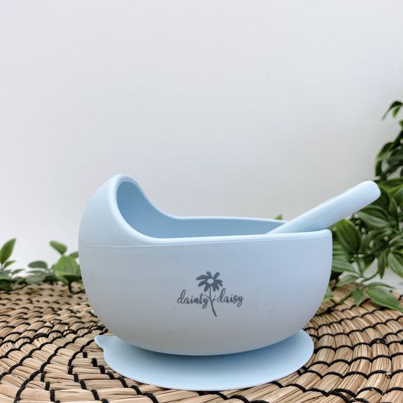 dainty daisy light blue silicone bowl and spoon set