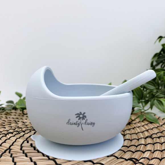 dainty daisy light grey silicone bowl and spoon set