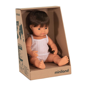 MINILAND - Doll - Anatomically Correct Baby - Brunette Caucasian Boy (38 cm)