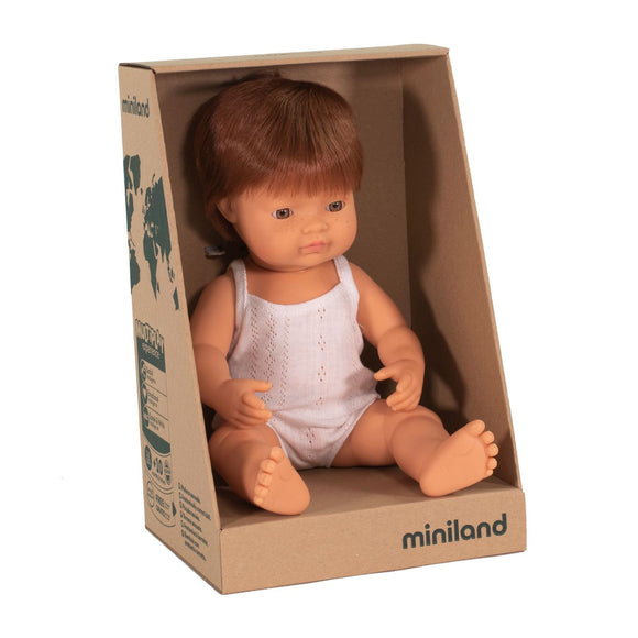 MINILAND - Doll - Anatomically Correct Baby - Red Head Caucasian Boy (38 cm)