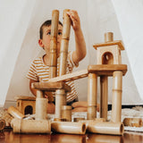 qtoys bamboo building set with houses