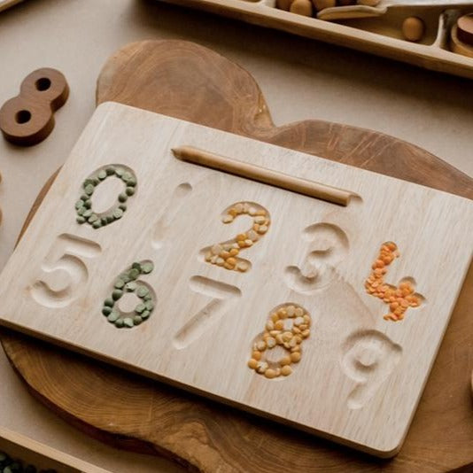 qtoys wooden number writing and tracing board