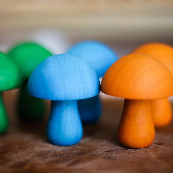 qtoys wooden coloured mushrooms