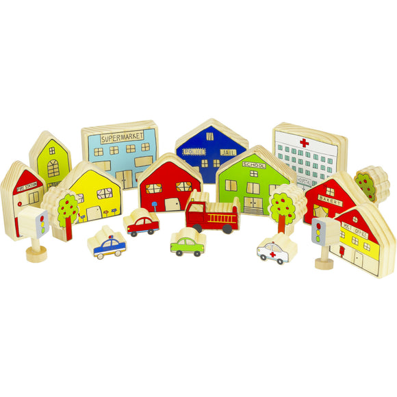 the freckled frog the village wooden play set