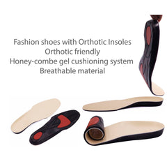 Orthotic insoles, removable footbed, orthotic friendly, arch support, gel heel cushion