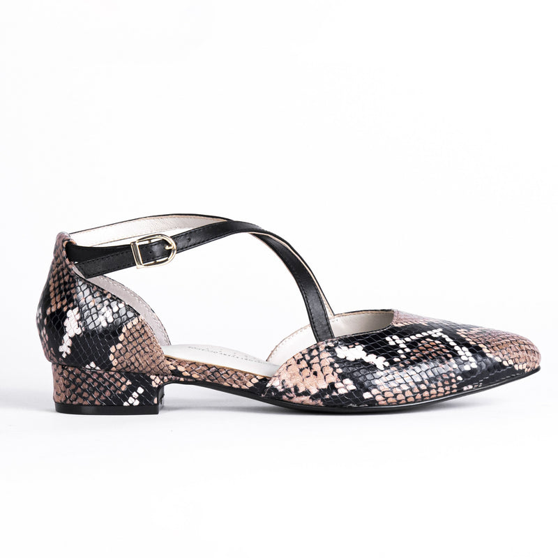 Snake print flat shoe, podiatry, arch support, wide toe, comfortable work shoe, shoes for office