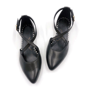 Black flat shoe, arch support, wide feet friendly, comfortable work shoe, shoes for office