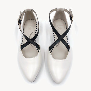 White Color flat shoe, arch support, wide feet suitable, comfortable work shoe, shoes for office