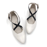 White Color flat shoe, arch support, wide toe, comfortable work shoe, shoes for office