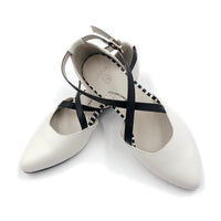 White Color flat shoe, podiatry, arch support, wide toe, comfortable work shoe, shoes for office