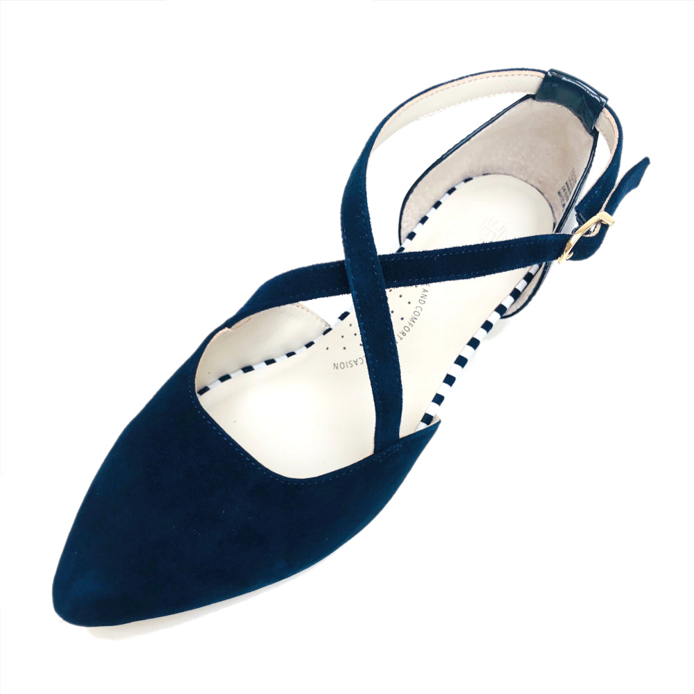 Navy Color flat shoe, arch support, wide toe, comfortable work shoe, shoes for office