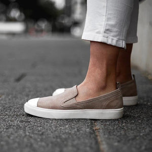 Comfortable Nude Colour Slip-On Sneaker with Arch Support and Orthotic Friendly, Suitable for Wide feet and Plantar Fasciitis