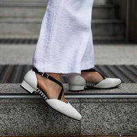 White work shoes with arch support and adjustable straps, wide feet and bunion friendly