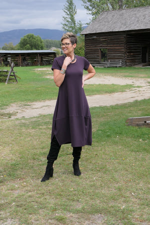 4020 - Cap Sleeve Plum Dress