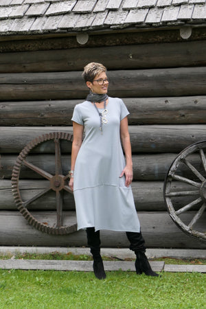4020 - Cap Sleeve Grey Dress