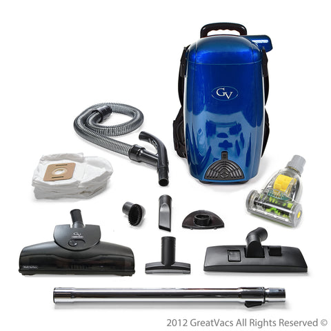 Scratch and Dent BLUE GV 8qt Light Powerful HEPA BackPack Vacuum w 2 yr warranty