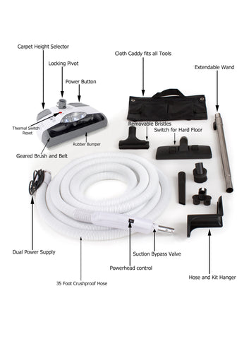 Scratch & Dent 35' Central Vacuum hose Kit with Power Head Hose and Tools designed for Electrolux Beam