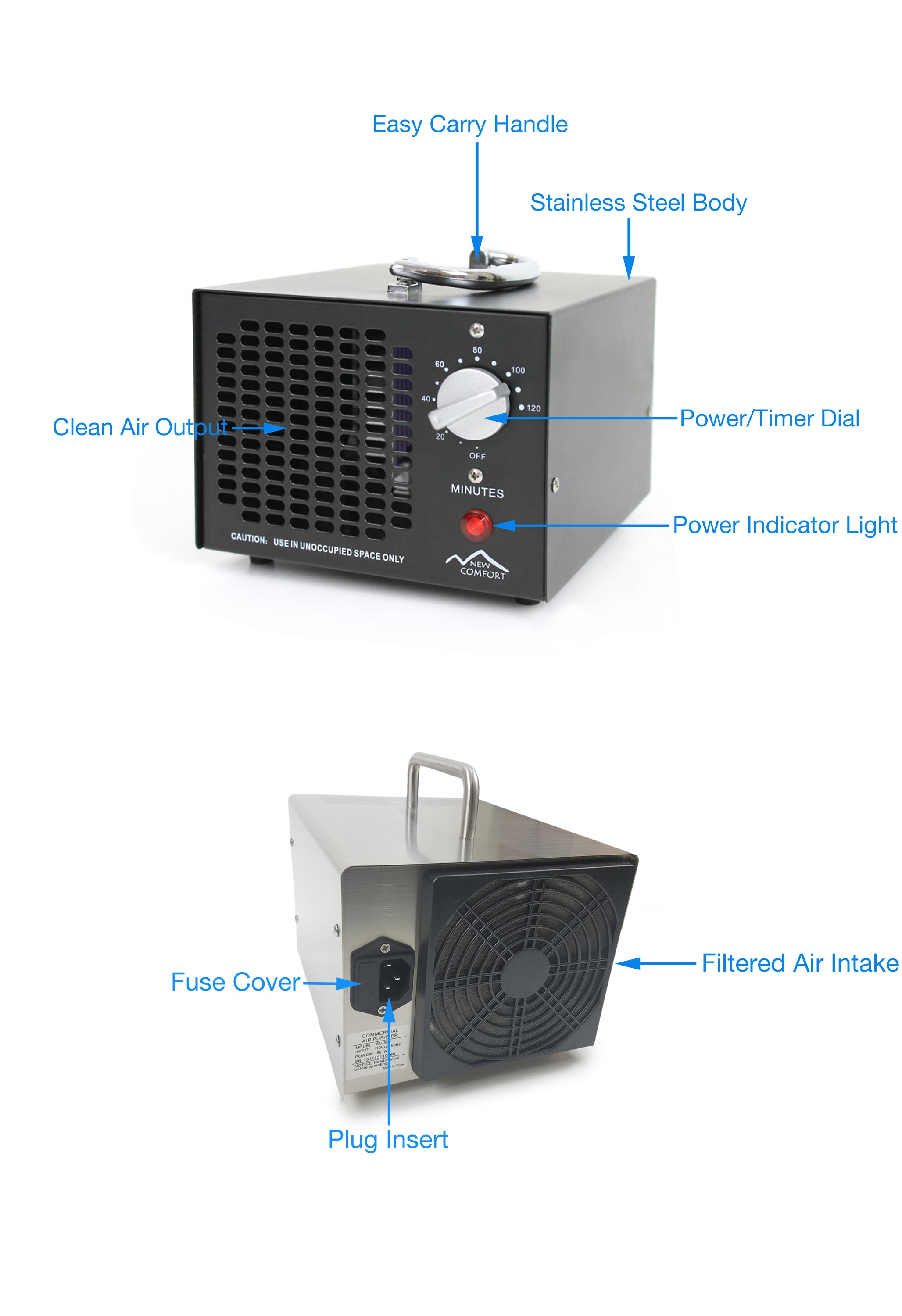 Compact Odor Eliminating Commercial Ozone Generator by New Comfort