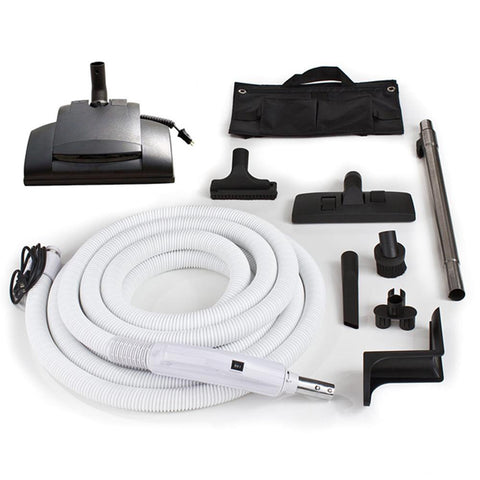 Universal 30 ft Central Vacuum Hose Kit With Wessel Werk Power Nozzle