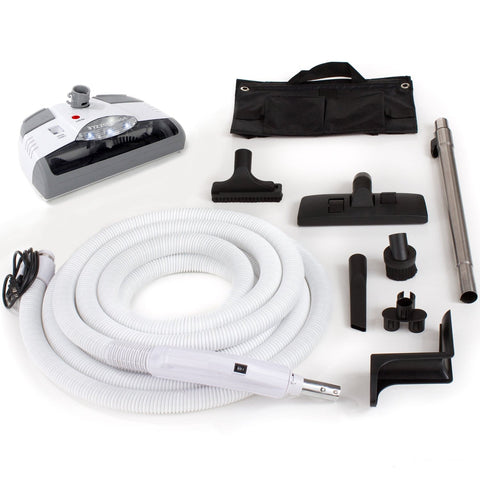 Universal Fit Electric Whole-Home Central Vacuum Hose system with Power Head