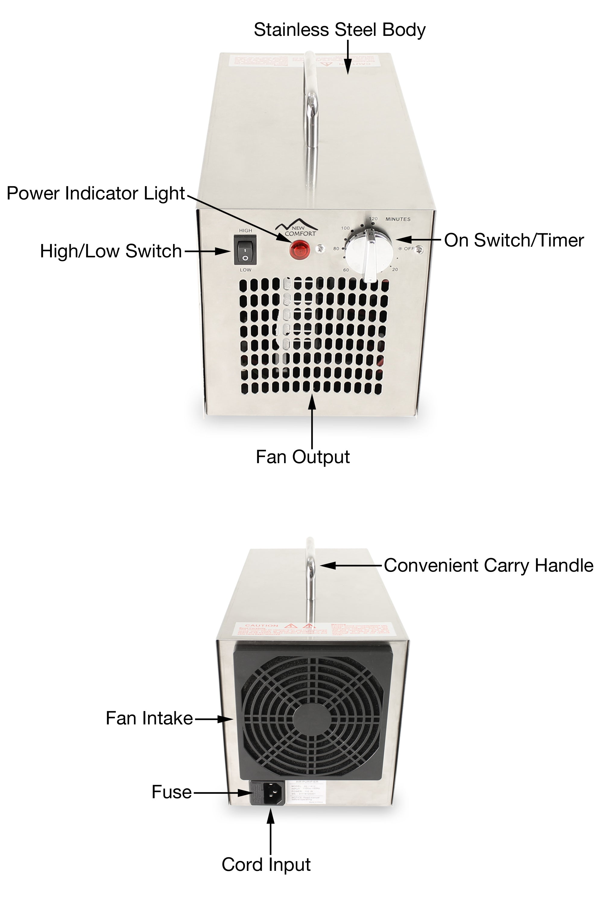 Stainless Steel Commercial Ozone Generating Air Purifier by New Comfort