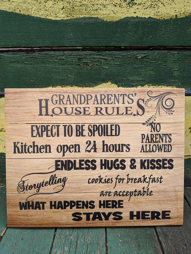 Grandparents' House Rules Wooden Pallet Sign
