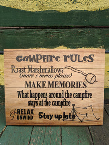 Campfire Rules Wooden Pallet Sign